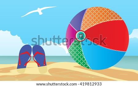 summer scene Flipflops and beachball in the sand  - stock vector
