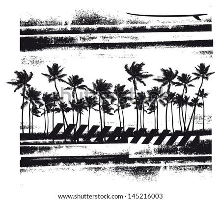 summer scene with many palms - stock vector