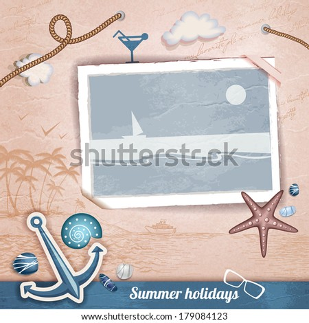 Summer scrapbooking photo album - stock vector