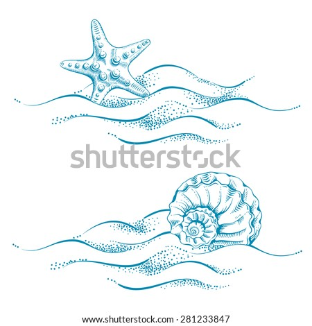 Summer sea background with sand, seashell and sea star. Vector. Drawn in technique etching.  - stock vector
