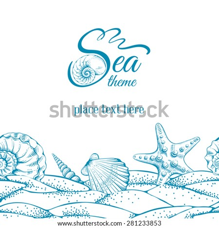 Summer sea background with sand, seashells and sea star. Vector. Drawn in technique etching.  - stock vector