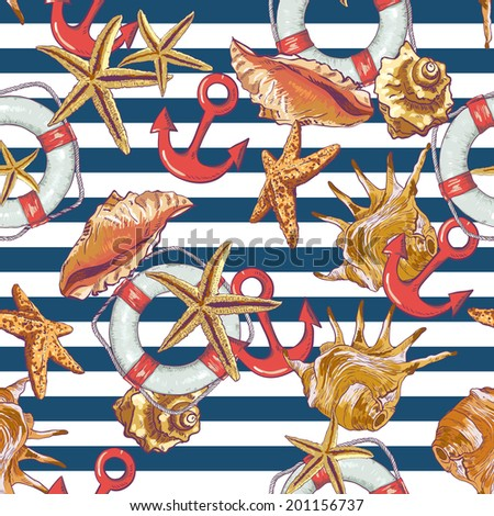 Summer Seamless Pattern  with Sea Shells, Anchor, Lifeline on Striped Background - stock vector