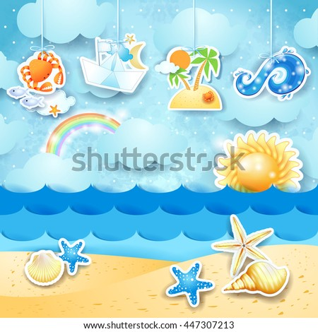 Summer seascape with hanging elements. Vector illustration  - stock vector