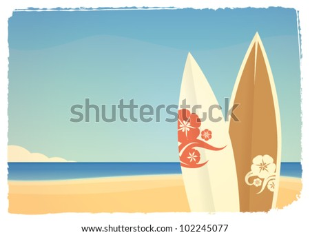 summer seaside background with surfboards in retro style - stock vector