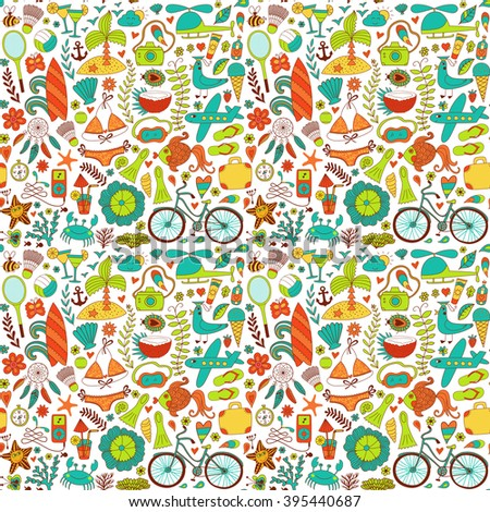 Summer set doodle pattern. Travel drawing. Vacation design vector illustration.  - stock vector