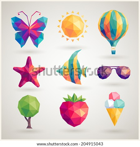 Summer set - geometric icons. - stock vector