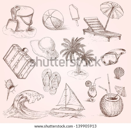Summer set. Vintage vacation collection with Summer items. Vector travel icon - stock vector