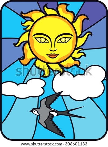 Summer smiling Sun face on blue sky wich clouds background and swallow. Stained glass window. It Can be used for flayers, banners, posters. Spring  background. - stock vector