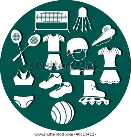 Summer sport set in aquamarine circle - stock vector