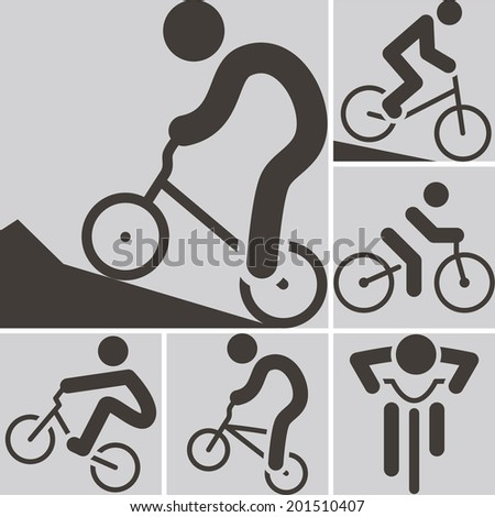 Summer sports icons -  cycling BMX icon - stock vector