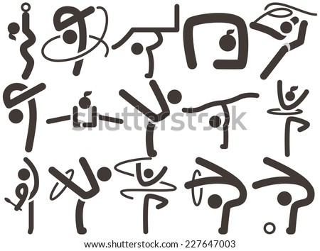 Summer sports icons set - Gymnastics Rhythmic icons - stock vector