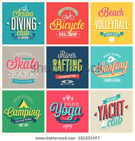 Summer sports set - labels and emblems. - stock vector