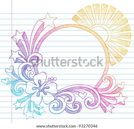 Summer Sun and Hibiscus Tropical Beach Border Frame Sketchy Notebook Doodles Vector Illustration on Lined Sketchbook Paper Background - stock vector