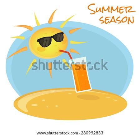 Summer sun drinking orange cocktail on the beach - stock vector