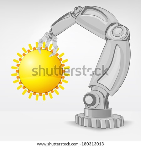 summer sun hold by automated robotic hand vector illustration - stock vector