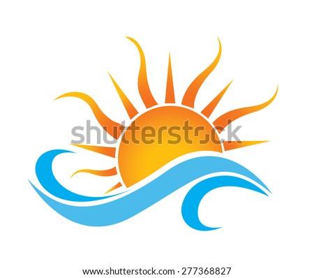 summer sun wave icon in vector format - stock vector