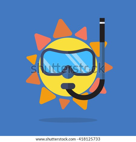 Summer sun wearing sunglasses. vector illustration - stock vector