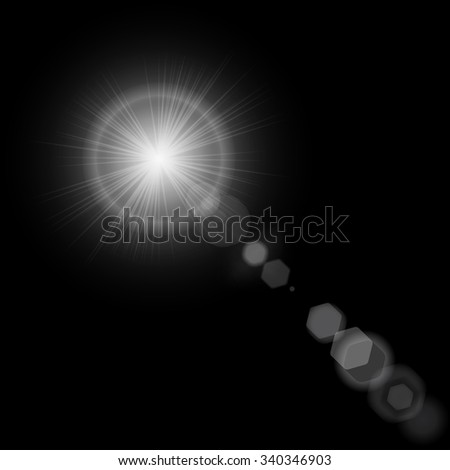 Summer sun with realistic lens flare lights and glow on black background. Vector illustration lens flare eps10 - stock vector