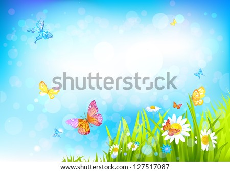 Summer sunny background with with beautiful flowers and butterflies - stock vector