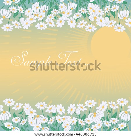 Summer Sunset Greeting Card with Chamomiles Frames, Space for Text and Sun Beams. Vector EPS10 - stock vector