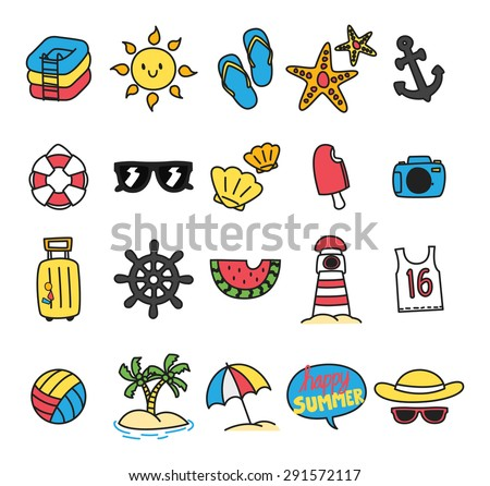 summer themed icon doodle - stock vector