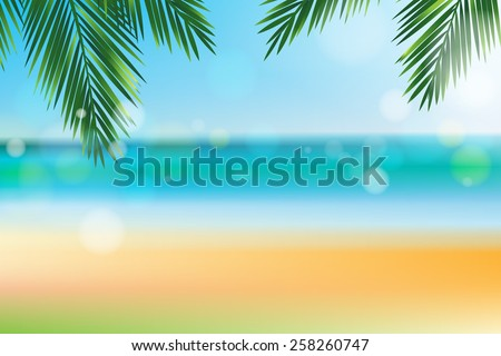 Summer time at the beach with coconut leaf on top and bokeh effect - stock vector