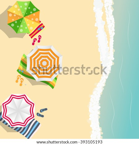 Summer Time Background. Sunny Beach in Flat Design Style Vector Illustration EPS10 - stock vector