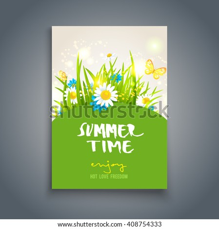 Summer time card. Nature template for design banner,ticket, leaflet, card, poster and so on. Place for text. - stock vector