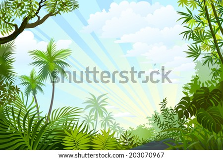 Summer time happiness with beautiful green trees and an amazing blue sky - stock vector