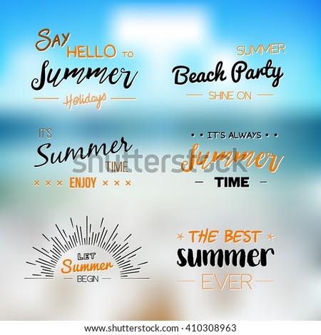 Summer Time logo Templates. Vector Typographic Design Label. Summer Holidays lettering. Summer party, Enjoy The Summer, tropical paradise, sea, sunshine, weekend tour, beach vacation, adventure label - stock vector