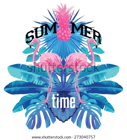 summer time. Pink flamingo and blue palm leaves mirror illustration - stock vector