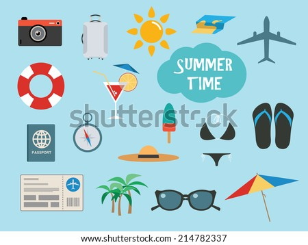 Summer time set with vacation accessories or icons, vector illustration - stock vector
