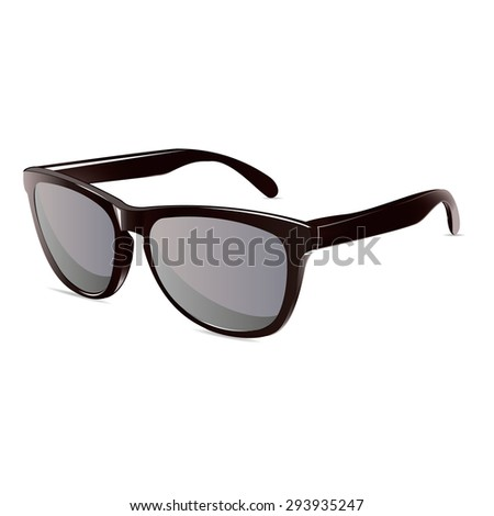 summer time sunglasses black isolated unisex vector - stock vector