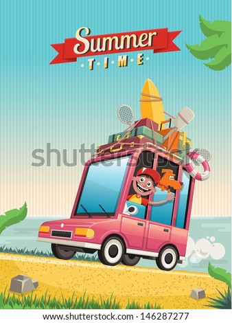 summer time vector background - stock vector