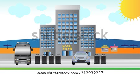 Summer tourist destination - hotel, tour bus, car and luggage close to the beach and sea - stock vector