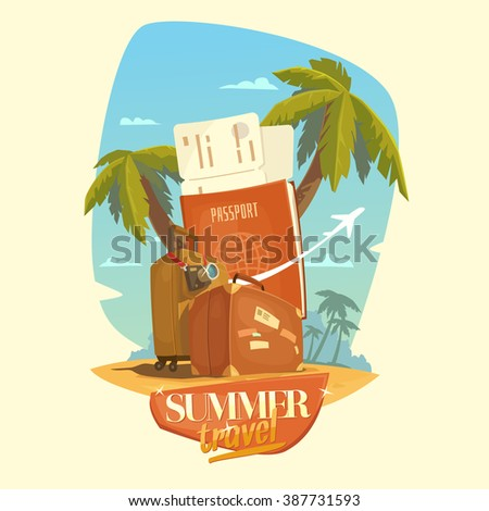 Summer travel. Bright, colorful poster to advertise travel packages to sea. Vector illustration. Sea, palm, sand, beach, summer, tickets, ticket, passport, suitcase, camera, people. - stock vector