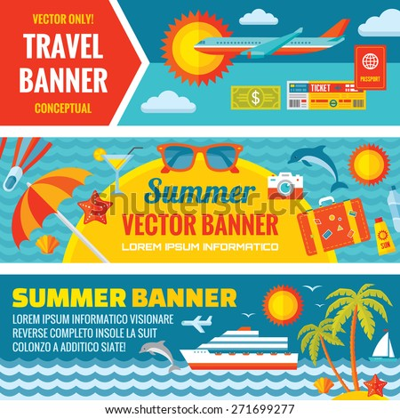 Summer travel - decorative horizontal vector banners set in flat style design trend. Summer travel vector backgrounds. Summer, travel and transport flat icons. Design elements.  - stock vector