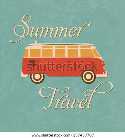 Summer Travel Design - Camper Van - stock vector