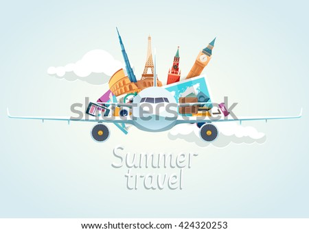 Summer travel illustration with  airplane - stock vector