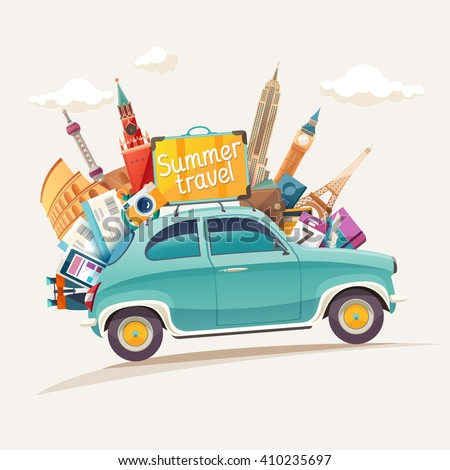 Summer travel illustration with retro car and architectural sights - stock vector