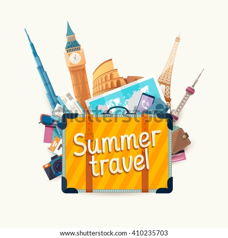 Summer travel illustration with  suitcase and architectural sights - stock vector