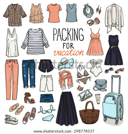 Summer travel luggage. Packing for vacation. Woman clothing set. Vector hand-drown objects sketch. Fashion collection. - stock vector
