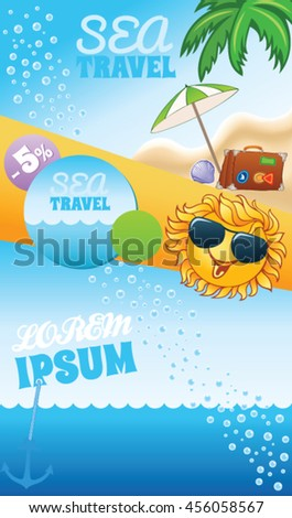 Summer travel template with cartoon smiling sun and place for text - stock vector