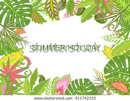 Summer tropical background with exotic leaves - stock vector