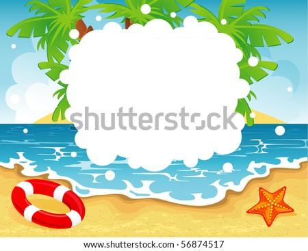Summer tropical banner, vector illustration - stock vector