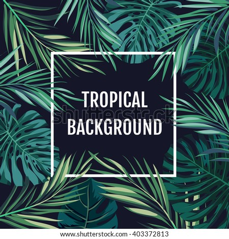 Summer tropical hawaiian background with palm tree leavs and exotic plants - stock vector