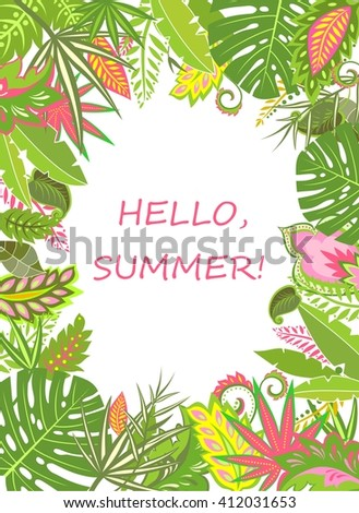 Summer tropical poster with exotic leaves - stock vector
