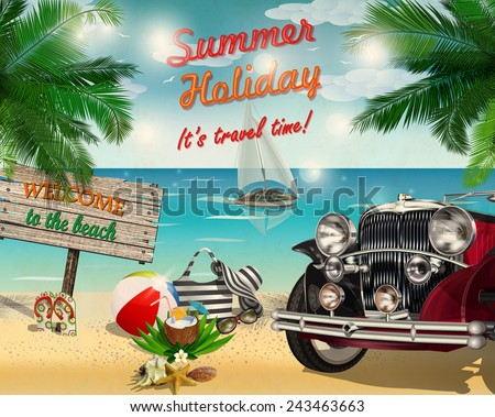 Summer tropical poster with retro car and  summer elements - stock vector