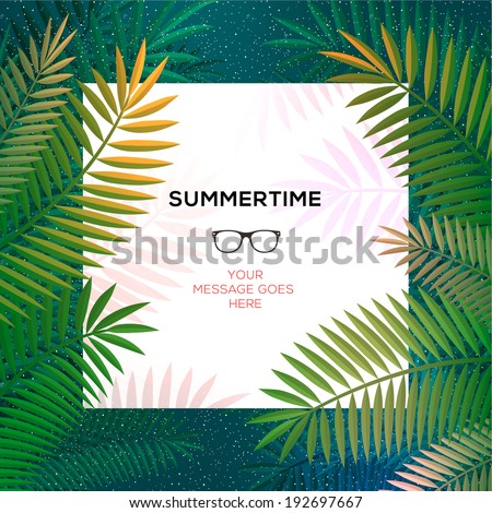 Summer tropical template, tropical paradise background with palm leaves, vector image.  - stock vector