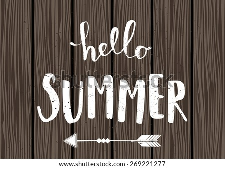 Summer typographic design in white on wooden planks background. - stock vector